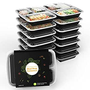 PanXeal 15 Pieces Meal Prep Containers Bpa Free Food Storage Stackable Reusable Microwave Dishwasher with 3 Compartment