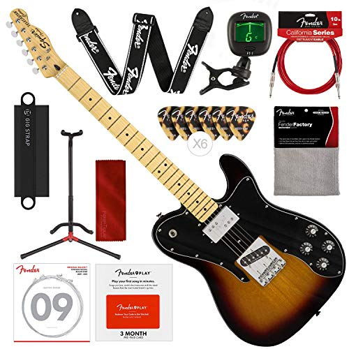 Squier by Fender Vintage Modified Telecaster Custom Electric Guitar - 3-Color Sunburst - Maple Fingerboard with Stand, Strap, Tuner and Deluxe Bundle (Maple Telecaster Neck With Tuners)