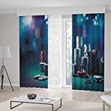 iPrint Poker Tournament Decorations Long Curtains,Gaming Table Poker Chips Dramatic Display Vegas Leisure Decorative,Living Room Bedroom Window Drapes 2 Panel Set,104 W 95 L,Multicolor