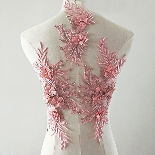 beaded flower sequence lace applique motif sewing bridal wedding 3in1 A5 3D (Dusty Pink)