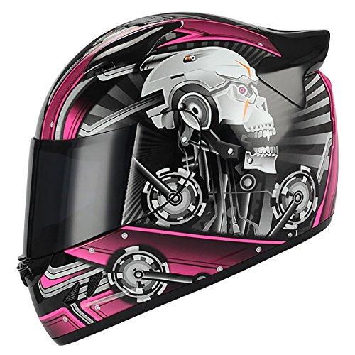(1STORM MOTORCYCLE BIKE FULL FACE HELMET MECHANIC SKULL PINK)