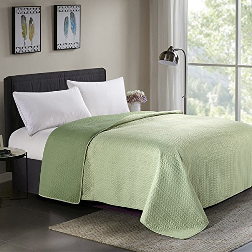 HollyHOME Reversible Super Soft Solid Single Pinsonic Quilted Bed Quilt Bedspread Bed Cover, Sage and Green, Full/Queen