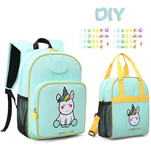 mommore Cute Unicorn Kids Backpack with Insulated Lunch Bag for Boys/Girls, Green