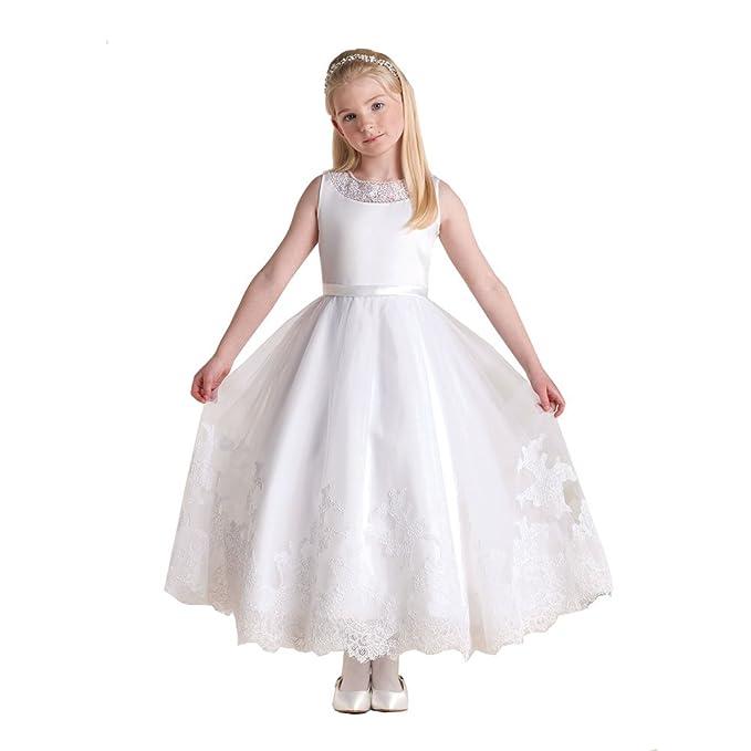 abwedding flores niña vestidos con de encaje de primera Comunión Blanco blanco