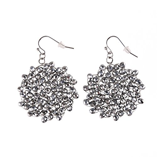 Niumike Silver Color Crystal Hand Braided Drop Earrings,Circle Dangle Earrings Jewelry,1.38 IN Disk With Free Flannel Bag