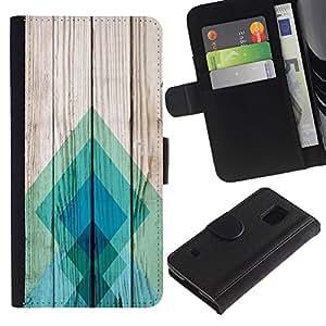 All Phone Most Case / Oferta Especial Cáscara Funda de cuero Monedero Cubierta de proteccion Caso / Wallet Case for Samsung Galaxy S5 V SM-G900 // Teal Pattern Square