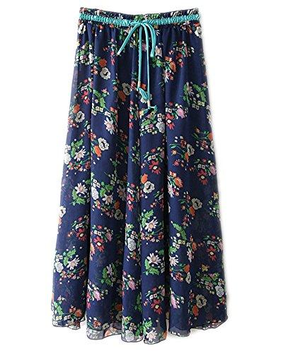 Floral Taille Haute Plage Maxi Longue Jupe en Mousseline de Femmes Bleu Fonc