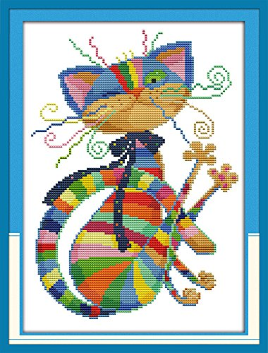 Cross Printed (Cross Stitch Kits - Stamped Cross Stitch Kit, Cross-Stitching Patterns Handsome Cat with 11CT Printed Fabric - DIY Art Crafts Sewing Hand Embriodery Kit for Home Decor 13''x17'')