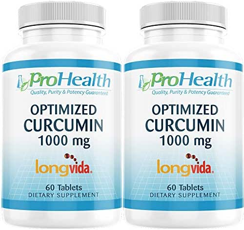 ProHealth Optimized Curcumin Longvida 2-Pack (1000 mg, 60 Tablets per Bottle) 285x More Bioavailable | Joint Health | Memory and Cognition | Anti-Inflammatory | Antioxidant Supplement
