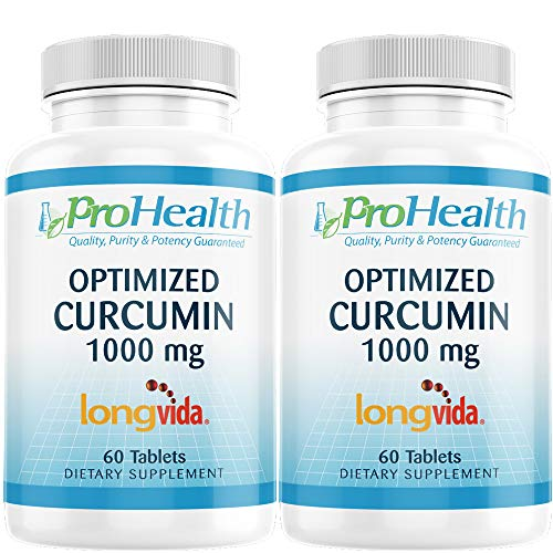 ProHealth Optimized Curcumin Longvida 2-Pack (1000 mg, 60 Tablets per Bottle) 285x More Bioavailable   Joint Health   Memory and Cognition   Anti-Inflammatory   Antioxidant Supplement