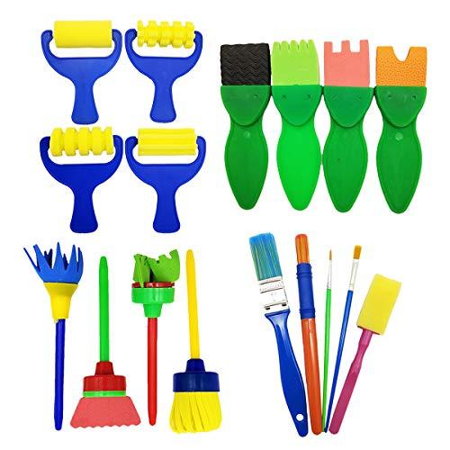 17 Pcs Sponge Painting Brushes kit Kids Craft Brushes Sets for Kids Painting Learning Art Creation(Assorted Sizes) ()