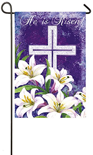 Lily Garden Flag (Evergreen Easter Cross and Lilies Suede Garden Flag, 12.5 x 18 inches)