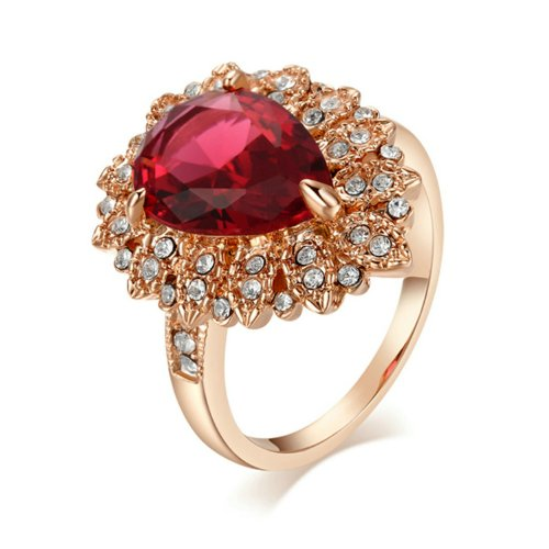 Yoursfs Retro Big Statement Rings 18K Gold Plated Women Jewelry Ring Ruby Crystal Cocktail Ring Valentines Gifts Rings