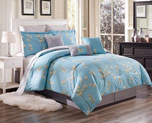 SUPER-SOFT-DUVET-COVER-SET-FOR-COMFORTER-BED-FLORAL-PATTERN-COVERLET COLOR TULIP FLOWER/AQUA BLUE SIZE KING Aqua Tulip Garden