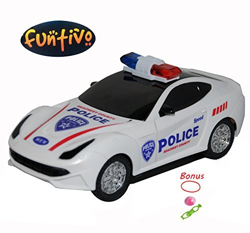 FUNIVO Bump-N-Go Flashing Police Car with 3D Flashing Lights and Sound, Battery Operated Police Car Toy for Kids (batteries not included)