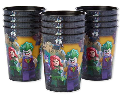 American Greetings Lego Batman Party Supplies, Reusable 16 oz. Plastic Party Cups, 12-Count
