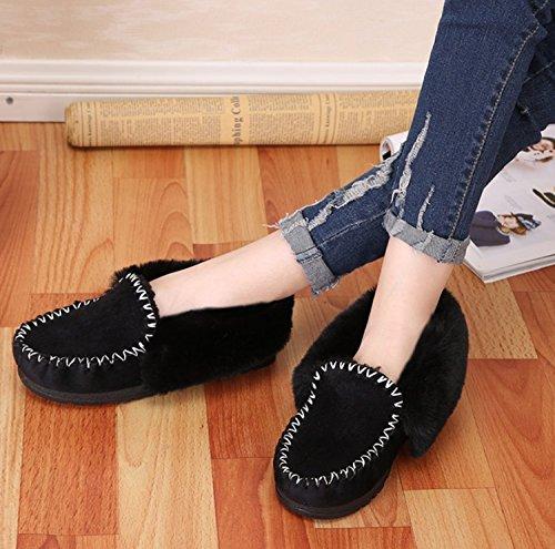 Pelusa Plano Forro de y Zapatos Negro de de Zapatillas Terciopelo algodón Zapatillas Chancletas Invierno tacón Zapatos DANDANJIE de Damas Forro de de Piel caseros wCqtpnxnHv