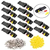 FULARR 12 Kit Professional 3 Pin Way Car Waterproof Electrical Wire Connectors Terminal Plug Socket Set, for Motorcycle Auto Truck Boat