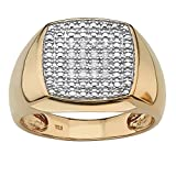 Men's White Diamond 18k Gold over .925 Silver Cluster Ring (.10 cttw, GH Color, I3 Clarity) Size 10