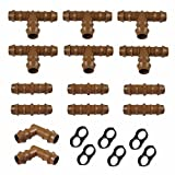 #4: Habitech Irrigation Fittings Kit for 1/2 Tubing 20 PIECE SET - 6 Tees, 6 Couplings, 2 Elbows, 6 Tubing End Caps For Rain Bird And Compatible Drip or Sprinkler Systems