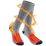 SVPRO Rechargeable Electric Heated Socks Battery Powered Comfortable Thermo-Socks,Cold Weather Thermal Socks Sport Outdoor Camping Hiking Warm Winter Socks for Men Women (Grey, M-T)
