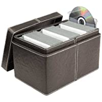 Faux Leather CD and DVD Filing Box (150 Disc Capacity) - Brown