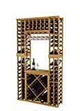 Vintner Series Wine Rack Tasting Center with Two Display Rows and Open Diamond Bin for 152 Bottles - 7 Ft - Premium Redwood with Unstained - Glass Rack Option
