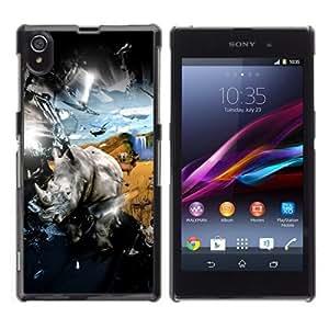 YOYOSHOP [Cool Rhino & Safari Explosion] Sony Xperia Z1 L39h Case