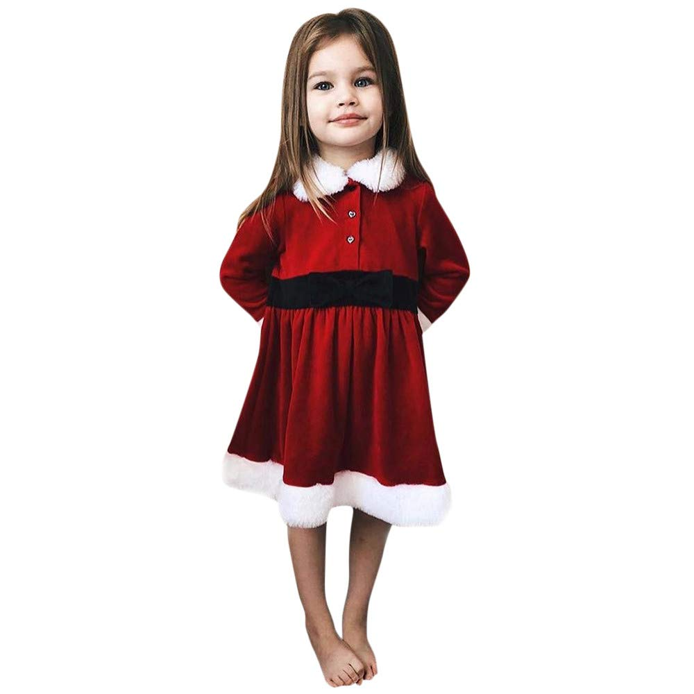 Little Girls Xmas Dress Iuhan Toddler Baby Girl Christmas Party Dress Fluffy Clothes