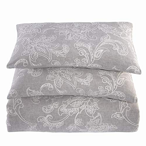 meadow park Washed Linen Cotton Blend 3PCS Duvet Cover Set, Crewel Embroidery - Chintz Floral Pattern - King Size - Super Soft, Pastel Grey