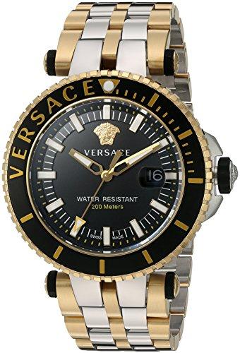 Versace Men's 'V-Race' Swiss Quartz Stainless Steel Casual Watch, Color:Two Tone (Model: VAK040016)
