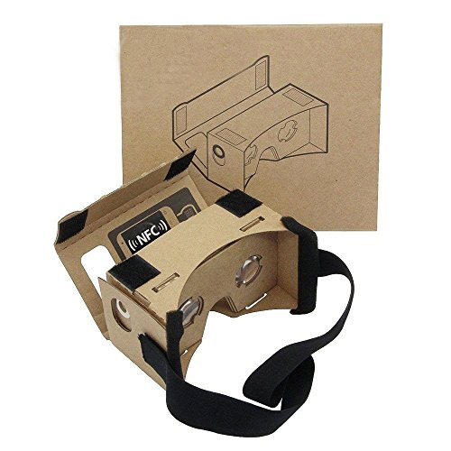 DAISEN Google Cardboard, DIY 3D VR Box Google Virtual Reality Headset Glasses Cardboard Kit for Smartphones with Headband (google cardboard)