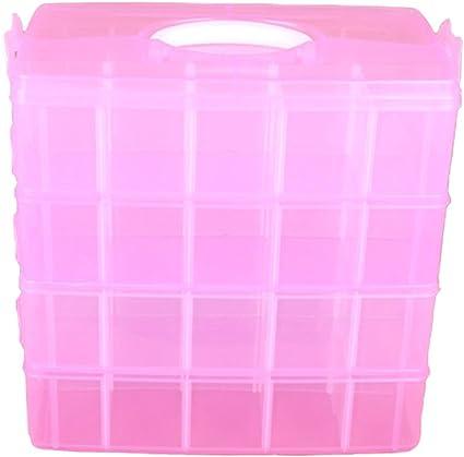 WiseHome - Caja organizadora de joyas de 4 niveles, cajas de plástico con separadores móviles, pequeños juguetes, cajas de almacenamiento apilables, 4 colores disponibles: Amazon.es: Oficina y papelería