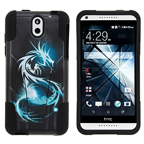 atible w/HTC Desire 610 Case, Dual Layer Shell Strike Impact Stand Case w/Unique Graphic Images White Dragon ()