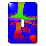 3D Rose lsp_204320_1 Print of Florida Outdoor Restaurant in Neon Colors-Single Toggle Switch