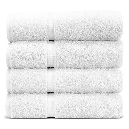 Towel Bazaar Premium Eco-Friendly 100% Turkish Cotton Hand Towel Set of 4, Multipurpose Bathroom Towels for Hand, Face, Gym and Spa (16 x 30 inches, White)