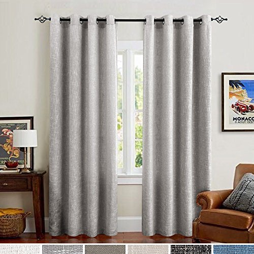 Linen Cotton Curtains for Bedroom Grey Curtain Panels for Living Room Window Treatment Set 95 inch Grommet Top 2 pcs ()