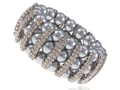 Alilang Lady Diana Three Row Encrusted Rhinestone Faux Pearl Glory Bracelet