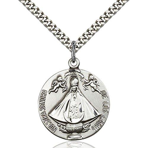sterling-silver-senora-de-los-lagos-pendant-1-x-7-8-inches-with-heavy-curb-chain