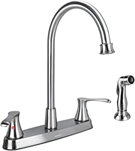 GOWIN Brushed Nickel Kitchen Faucet with Side Sprayer, Two Handle High Arc 4 Holes 8 Inch Centerset Stainless Steel Kitchen Sink Faucet with Pull Out Sprayer