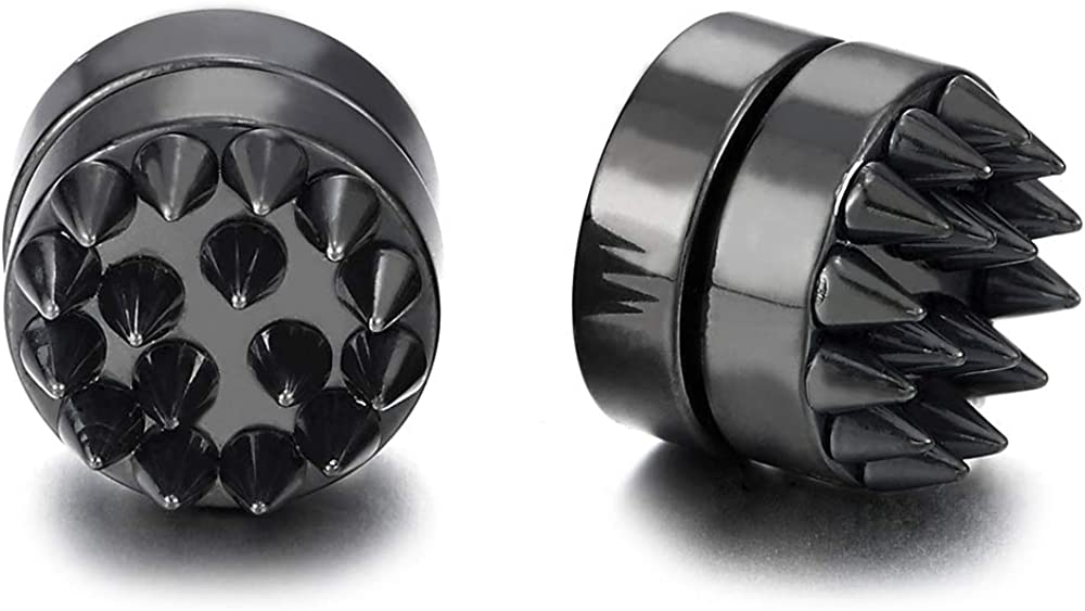 Magnetic Black Spike Rivets Stud Earrings for Men Women, Non-Piercing Clip On Steel Cheater Fake Ear