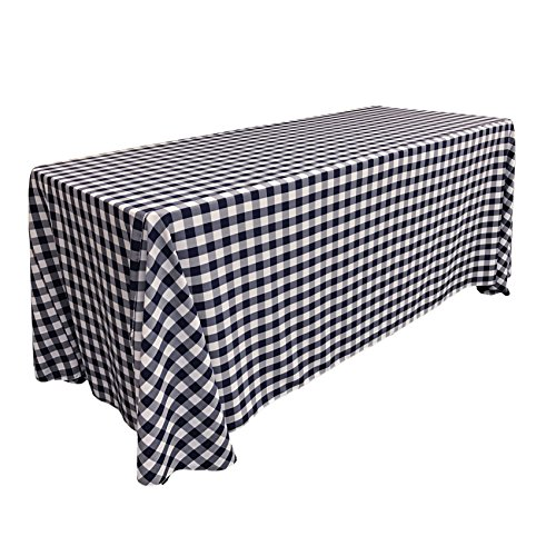 LA Linen Poly Checkered Rectangular Tablecloth, 90 by 132-Inch, ()