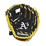 "Wilson A200 10"" Oakland Athletics Glove Right Hand Throw, Forest Green/Yellow"