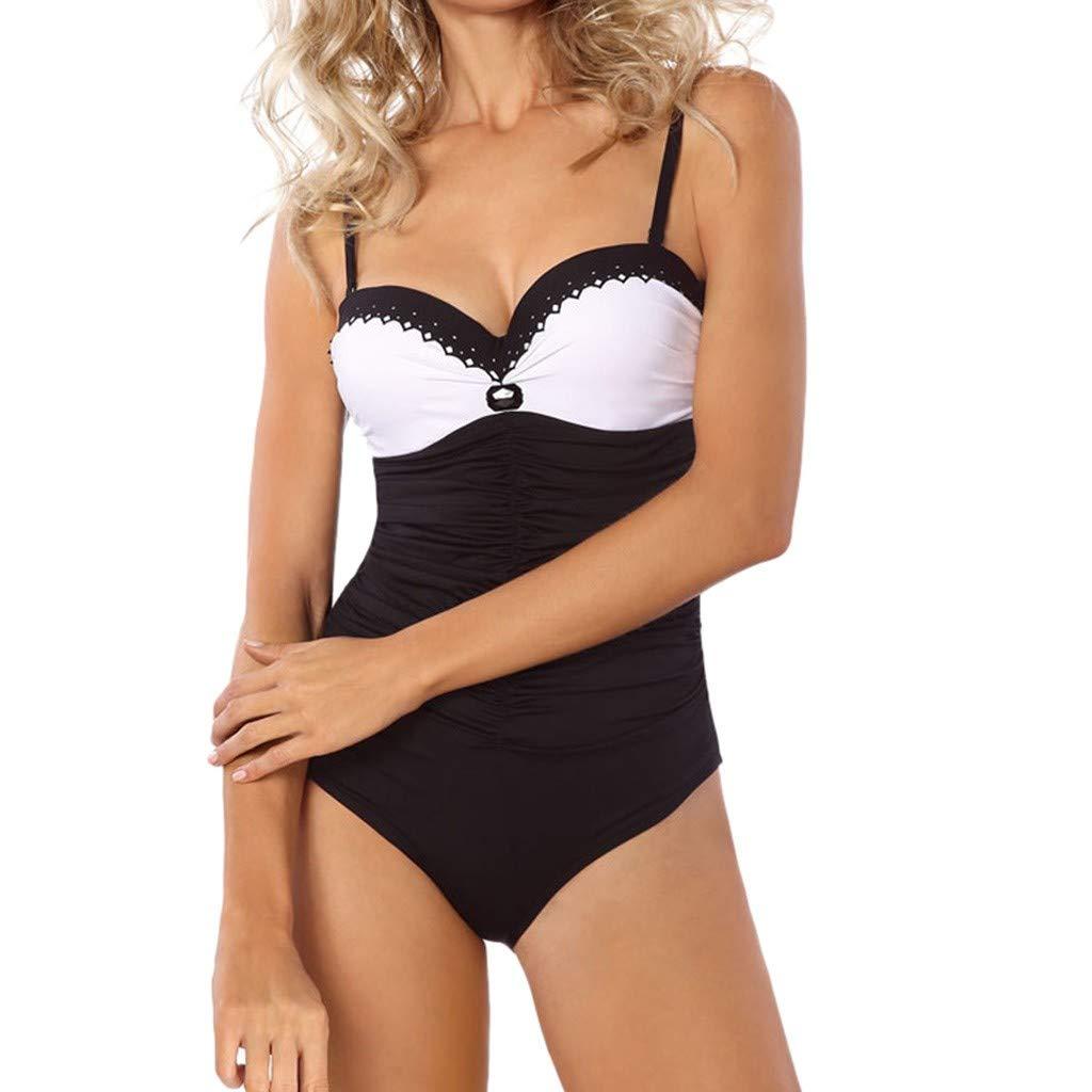 Women's Vintage Padded Push up One Piece Swimsuits Tummy Control Bathing Suits Swimwear (M, Black)