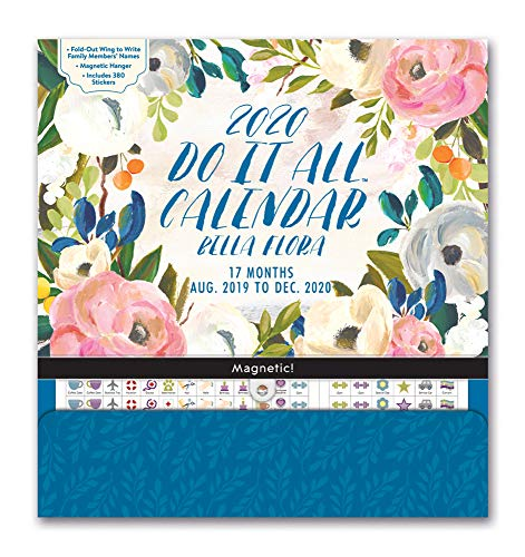 Orange Circle Studio 2020 Do It All Magnetic Wall Calendar, August 2019 - December 2020, Bella Flora