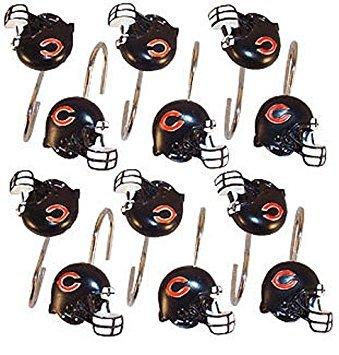 NFL Chicago Bears Shower Curtain Hooks Rings Set of 12