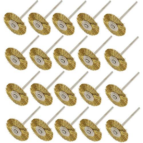 NIUPIKA Brass Wire Wheel Brush Polishing Wheels Abrasive Cup Brushes for Dremel Grinder Rotary Tools 2.35mm 20Pcs ()