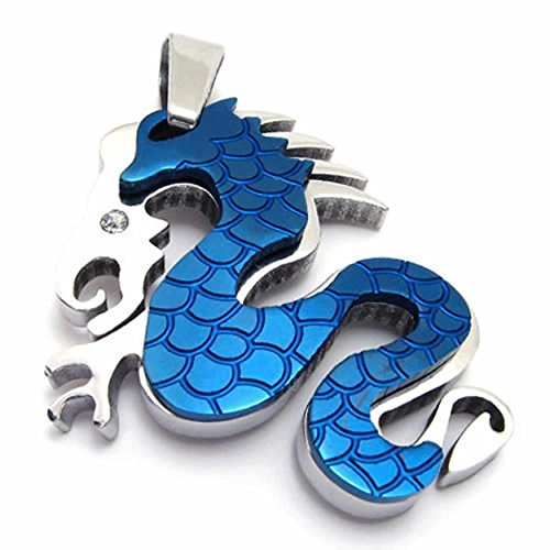 ANAZOZ Fashion Jewelry Stainless Steel Men's Pendant Necklace Chians Dragon Tribal Biker Blue 18-26 Inch