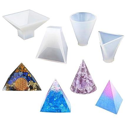 Rolin Roly 4 Stück Wiederverwendbar Pyramide Silikon Form Harz DIY Silikonform Gießform Resin Mold Clear Silikon Epoxidharz F