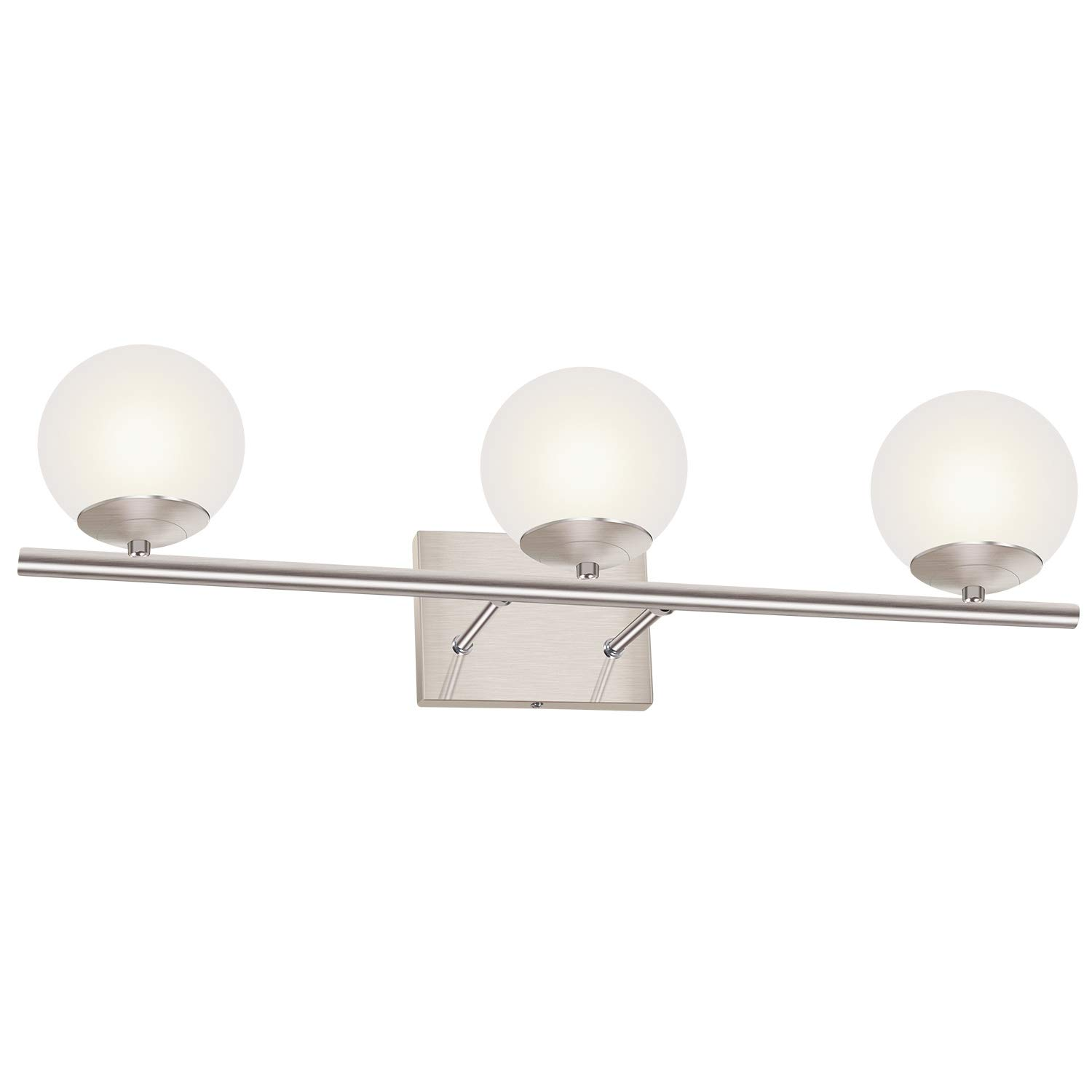 YHTlaeh New Bathroom Vanity Light Fixtures Brushed Nickel Glass Shade Three Light Modern Wall Bar Sconce Over Mirror